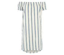Offshoulder-Kleid mit Streifen himmelblau / weiß