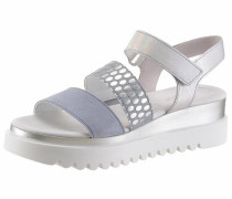 Sandalette taubenblau / silber / weiß