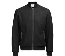 Woll-Bomber-Jacke schwarz