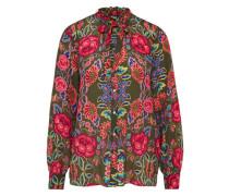 Bluse aus reiner Seide khaki / rot
