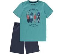 Schlafanzug für Jungen türkis / dunkelblau