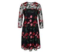 Mesh-Kleid mit Rosenstickerei schwarz