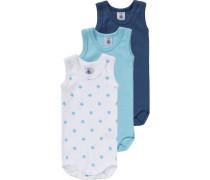 Bodys 3er-Pack für Jungen hellblau / dunkelblau / weiß
