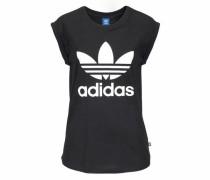 T-Shirt 'BF Trefoil Roll UP Tee' schwarz / weiß
