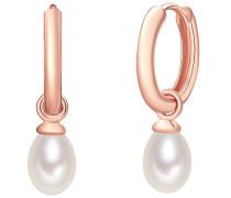 Silber-Creolen mit Perlenanhänger