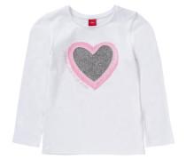 Langarmshirt mit Pailletten für Mädchen REG Herz rosa / weiß