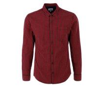 Extra Slim: Vichy-Langarmhemd rot / schwarz