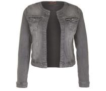 Jeansjacke mit Strasssteinchen grau