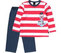 Schlafanzug navy / rot