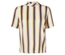 gestreifte Bluse mit kurzen Ärmel beige / gelb / basaltgrau