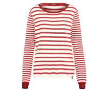 Pullover 'Basic crew neck knit with special ribs' creme / rot