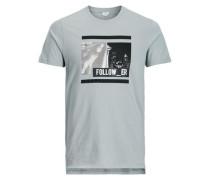 Lang geschnittenes T-Shirt taubenblau
