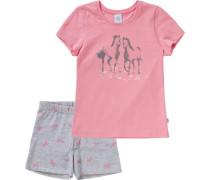 Schlafanzug für Mädchen ´Pferde` hellgrau / rosa