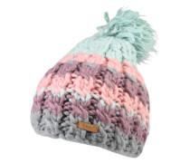 Beanie 'Feather' türkis / grau / rosa