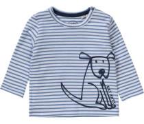 Baby Langarmshirt für Jungen Hund blau