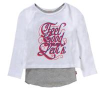Langarmshirt für Mädchen graumeliert / weiß