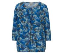 Bluse mit Allover Muster türkis / himmelblau