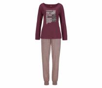 Pyjama mit gemusterter Hose und Langarmshirt bordeaux
