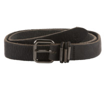 Ledergürtel 'fullgrain leather belt with metal loops' schwarz