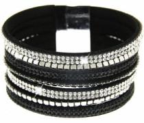Armband 'Rising sun' schwarz / silber / weiß