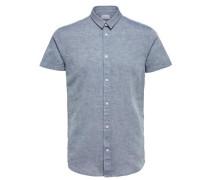 Regular Fit - Kurzarmhemd rauchblau