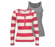 Langarmshirt (Set 2 tlg. mit Top) grau / rot / weiß