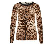 Pullover mit Leo-Print und Perlenausschnitt braun