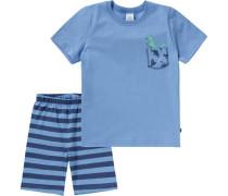 Schlafanzug für Jungen blau / hellblau