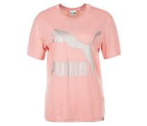T-Shirt 'classics Logo Tee' rosa / silber