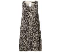 Seiden-Kleid ohne Ärmel beige / schwarz