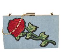Umhängetasche mit Rosen-Stickerei blau