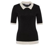 Lurex-Pullover mit Kontrastblenden schwarz