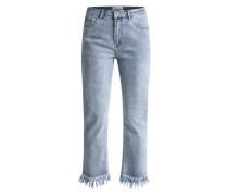 'Skinny' Jeans mit Fransen blau