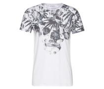 T-shirt 'Skull Flowers' weiß