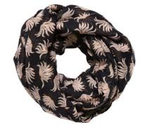 Schal mit Leaves-Print beige / schwarz