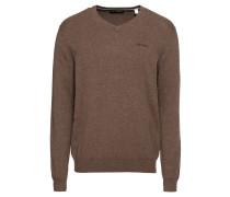 Pullover 'Basic CO V-nk' braun