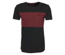T-Shirt 'alloverprinted tee' schwarz / bordeaux / weiß