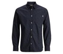 Langarmhemd Mikroprint blau