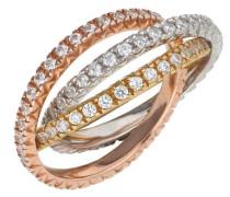 3 teiliger Fingerring 925 Silber Silber/Gold Brilliance Triple Esrg91885A gold / silber