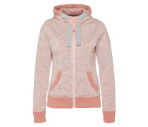 Sweatshirtjacke 'Storm' hellgrau / rosa