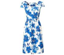Bodyform-Druckkleid Blumen blau / weiß