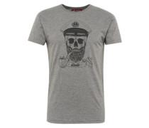 T-Shirt 'Spooky' graumeliert / schwarz