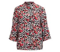 Gemusterte Bluse 'objmonica' rot / schwarz / weiß