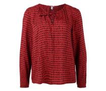 Tunika-Bluse mit Allover-Print rot / schwarz