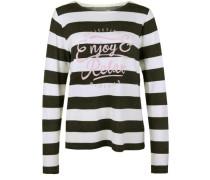 Fleece Sweater mit Blockstreifen creme / anthrazit / rosa