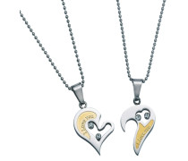 Partnerschmuck: Schmuckset Halsketten m. Anhänger (Set 4 tlg.) Gravur »I Love You« »Herz« gold / silber