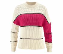 Pullover aus Grobstrick creme / pink