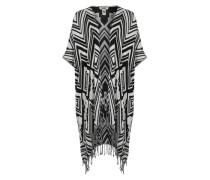 Poncho im Ethno-Style schwarz / weiß