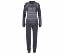 Pyjama 'Rhapsody' mit fein gestreiftem Longsleeve graphit / mint / weiß