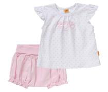Baby Set T-Shirt + Shorts für Mädchen rosa / weiß